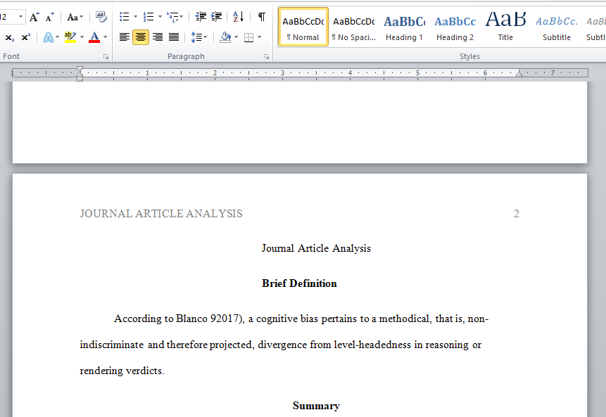 write a journal article analysis on any of the terms