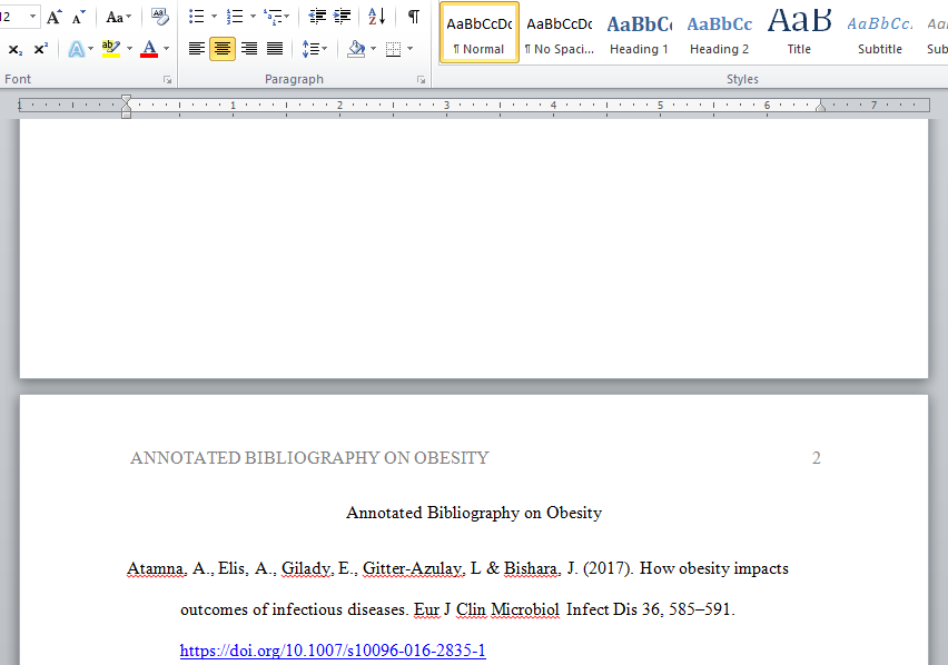 annotated bilbliography on obesity