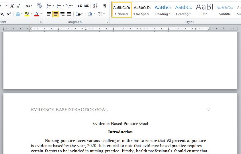 evidence-based practice goal