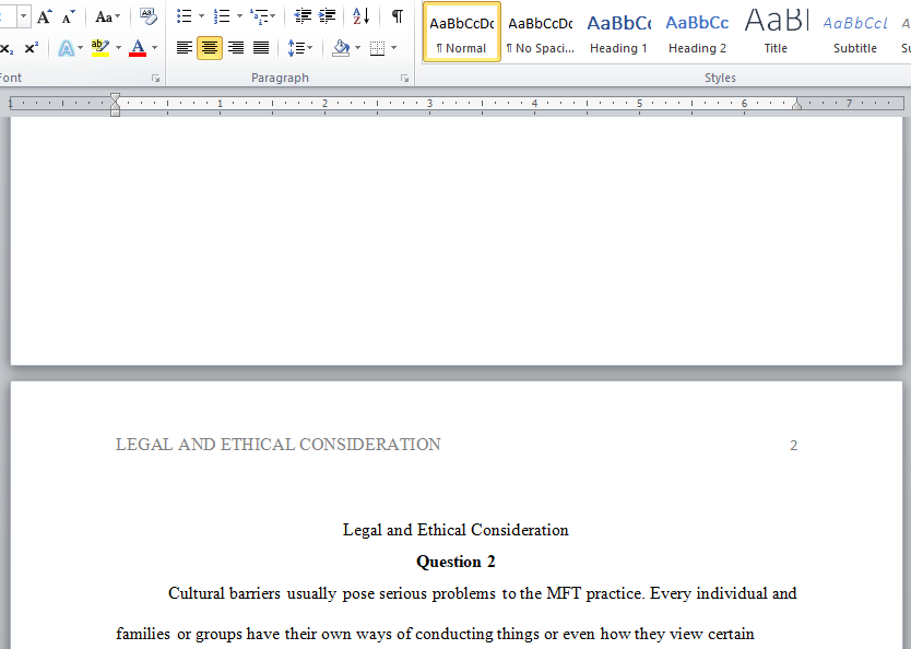 legal and ethical consideration in MFT