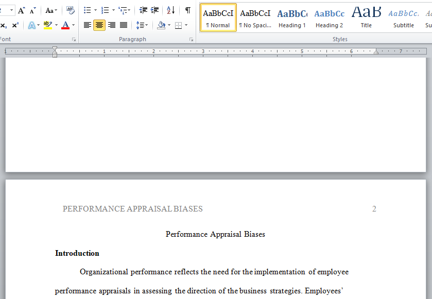 performance appraisal biases