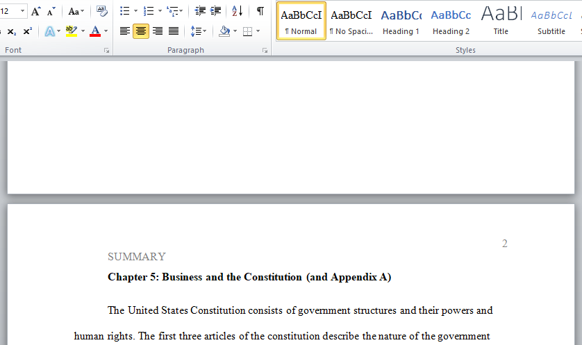summary business and constitution