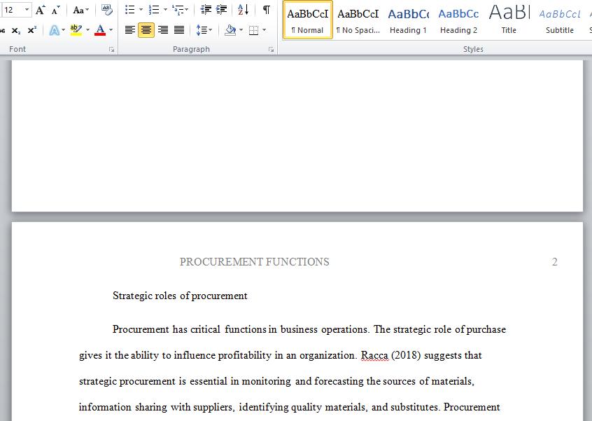 procurement functions
