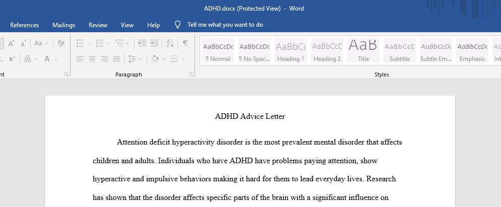 ADHD Advice Letter