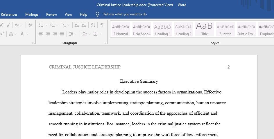 Criminal Justice Leadership