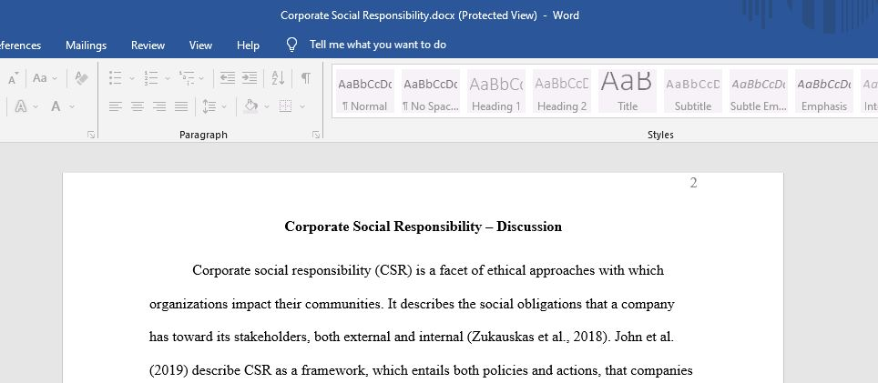 Corporate Social Responsibility – Discussion