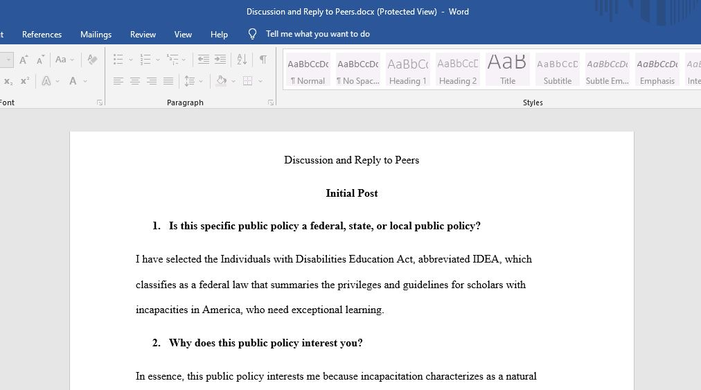 this paper provides a discussion of a federal act on education,