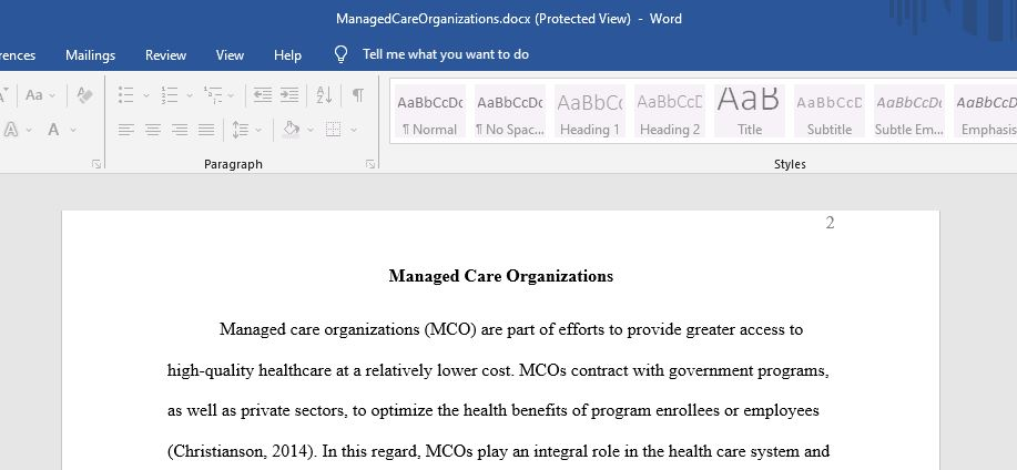 Managed Care organization