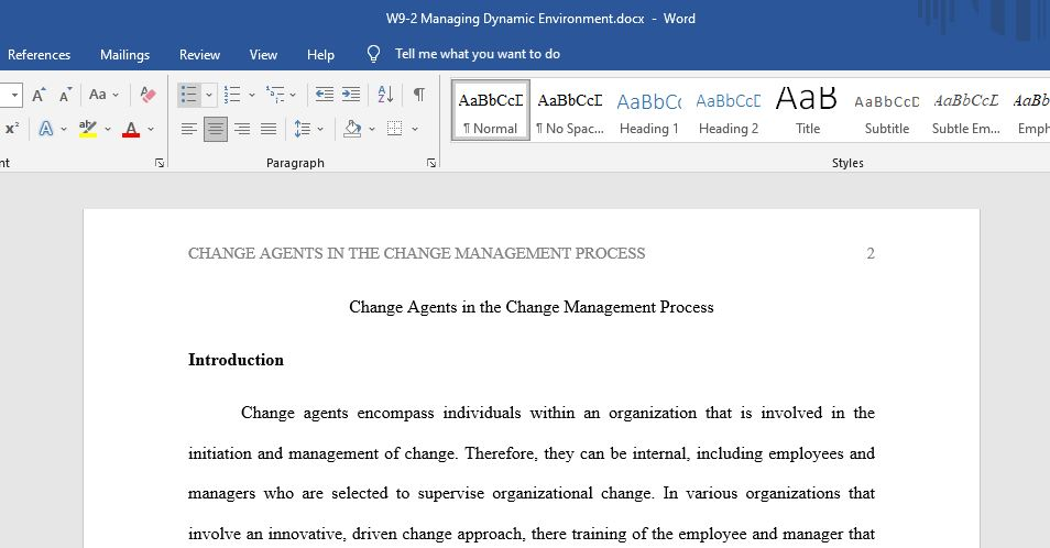 Change Agents in the Change Management Process