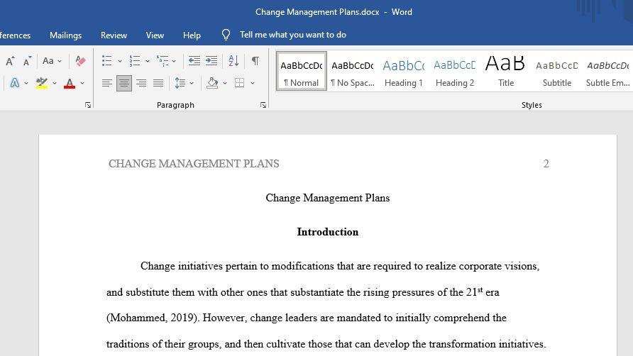 Change Management Plans