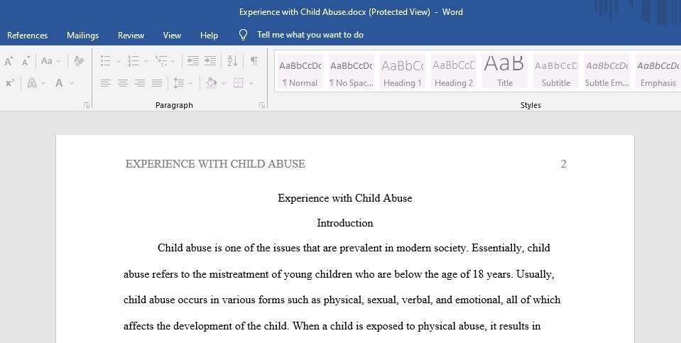 Child Abuse: Prevention and Investigation