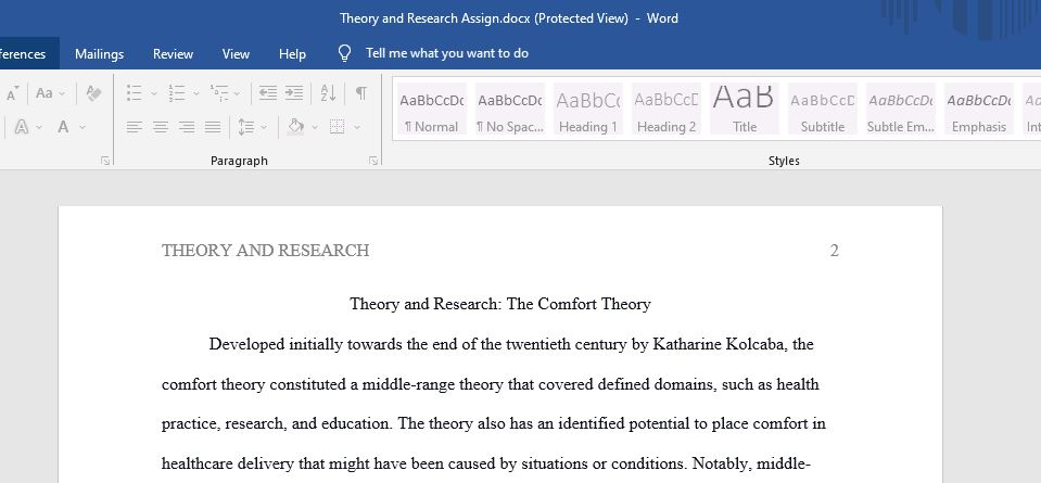 Theory and Research: The Comfort Theory