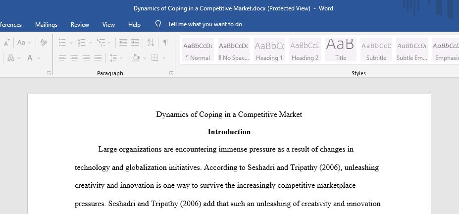Dynamics of Coping in a Competitive Market