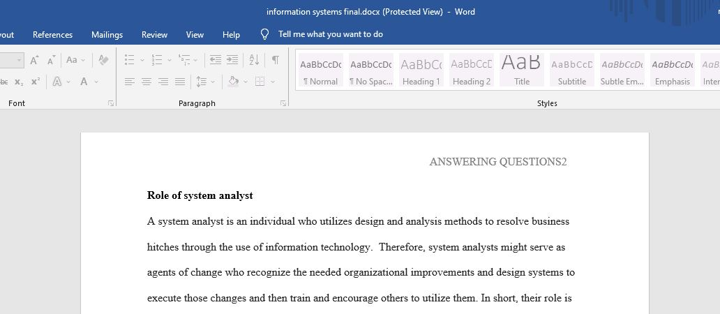 Describe the role of a systems analyst.