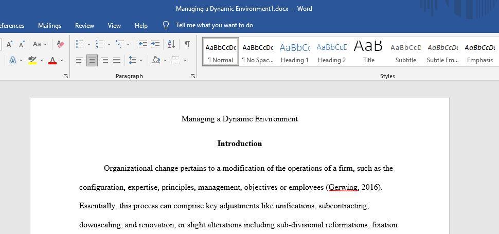 Managing Dynamic Environment Critical Thinking