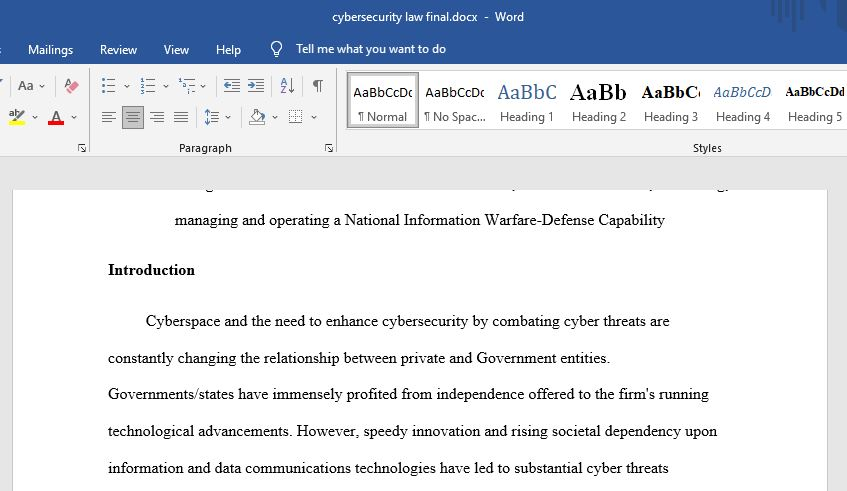 Legal Roles of Government and the Private Sector in a National Information Warfare-Defense