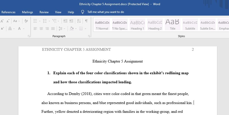 Ethnicity Chapter 5 Assignment