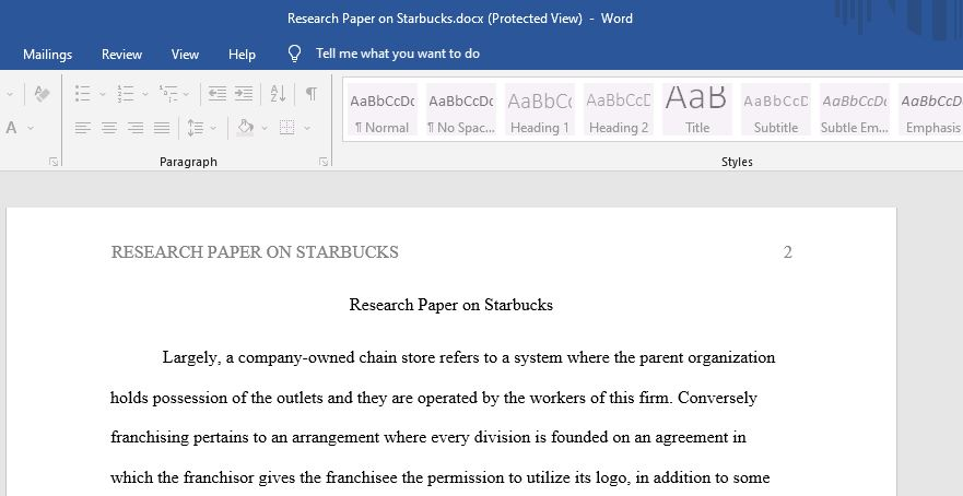 this paper explains why Starbucks still possesses a huge total of company-owned stores as opposed to franchising, and whether it is resisting the latter inclination of other food-service retailers.