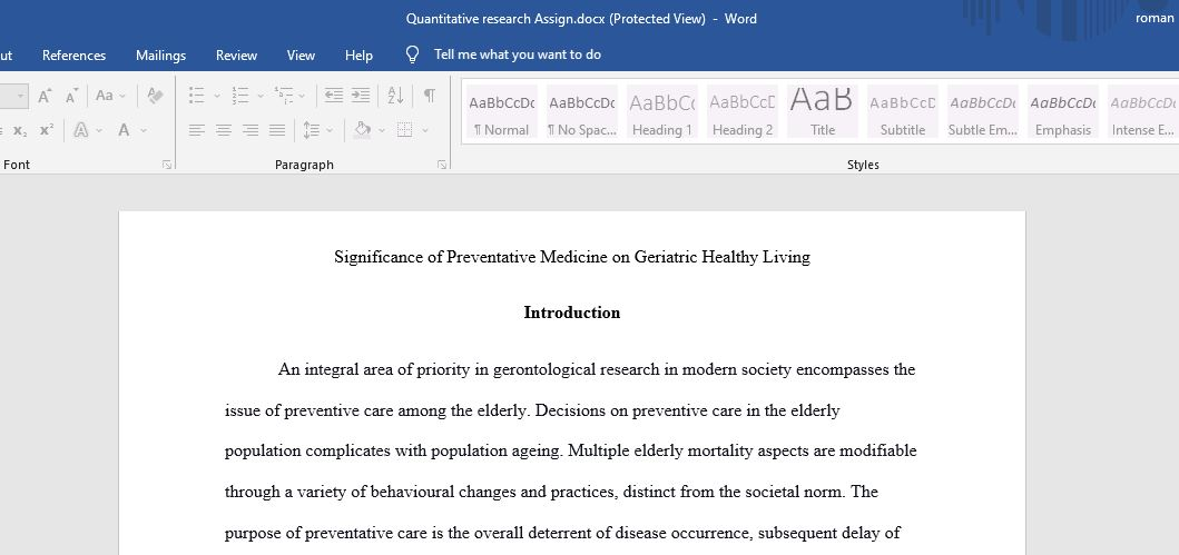 Significance of Preventative Medicine on Geriatric Healthy Living