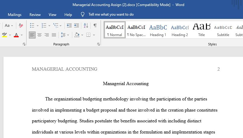 managerial accounting: