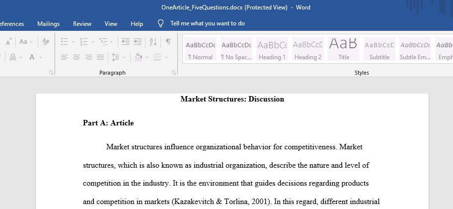 Market Structures: Discussion