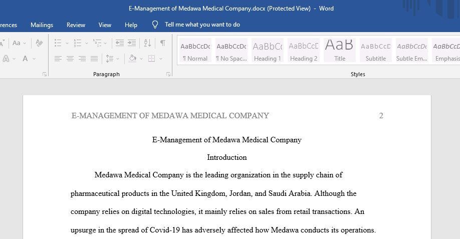 E-Management of Mmedawa Medical Company