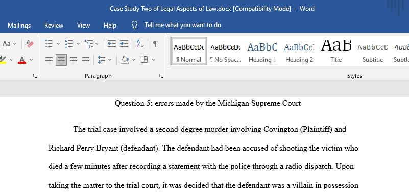 Case Study Two of Legal Aspects of Law