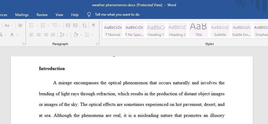 Mirages Weather Phenomena