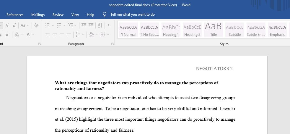 What are things that negotiators can proactively do to manage the perceptions rationality and fairness?
