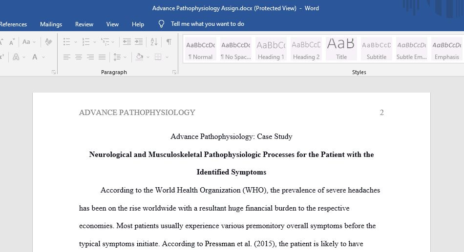 Advance Pathophysiology: Case Study