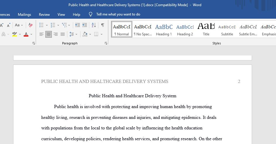 Public Health and Healthcare Delivery Systems