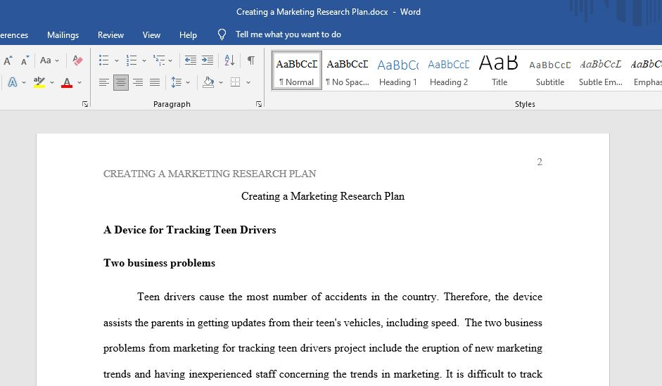 Creating a Marketing Research Plan
