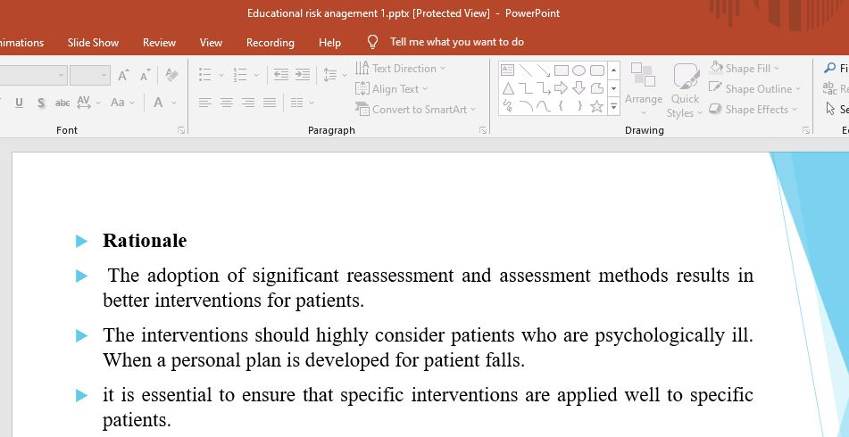 The purpose of this assignment is to create an educational risk management presentation.