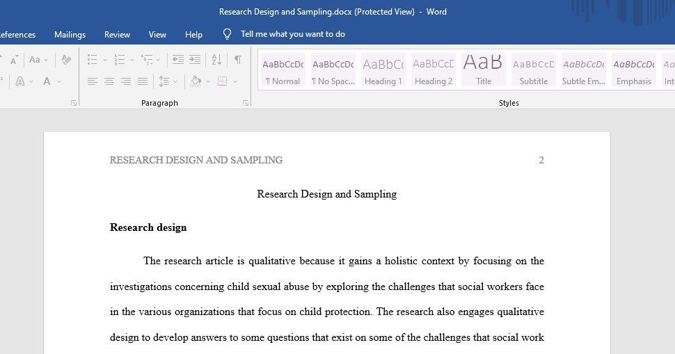 research and design sampling