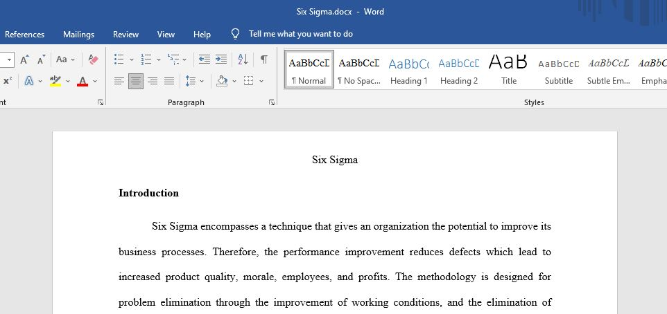 Six Sigma encompasses a technique that gives an organization the potential to improve its business processes. Therefore, the performance improvement reduces defects