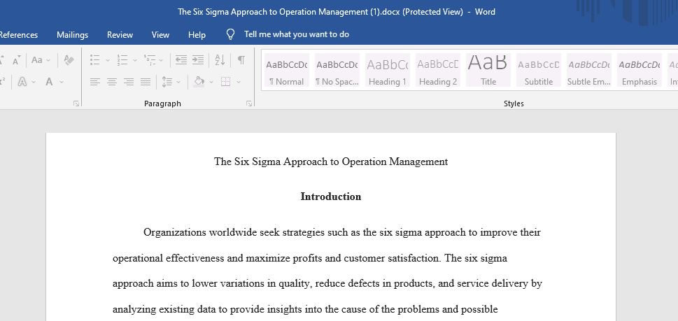 The Six Sigma Approach to Operation Management