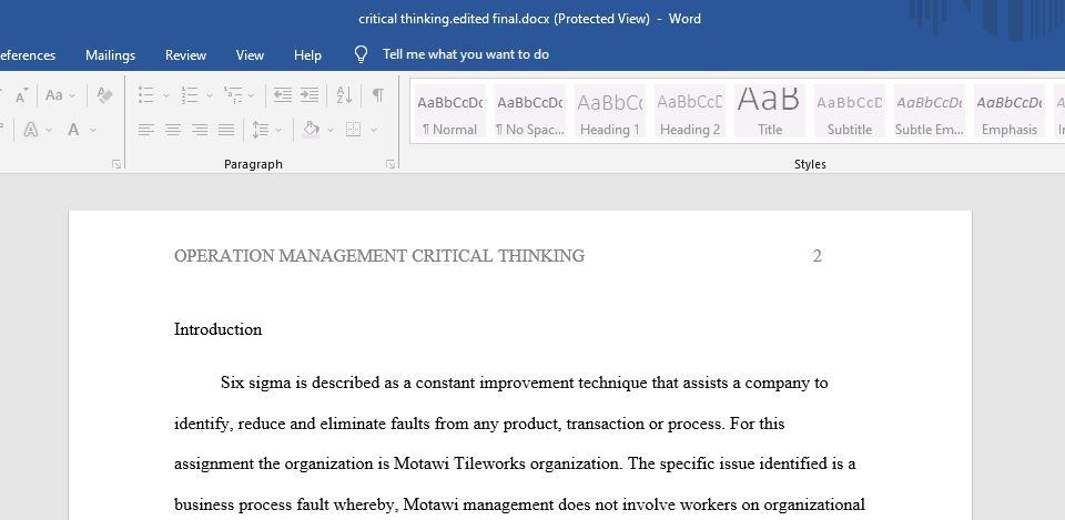 Operation Management Critical Thinking