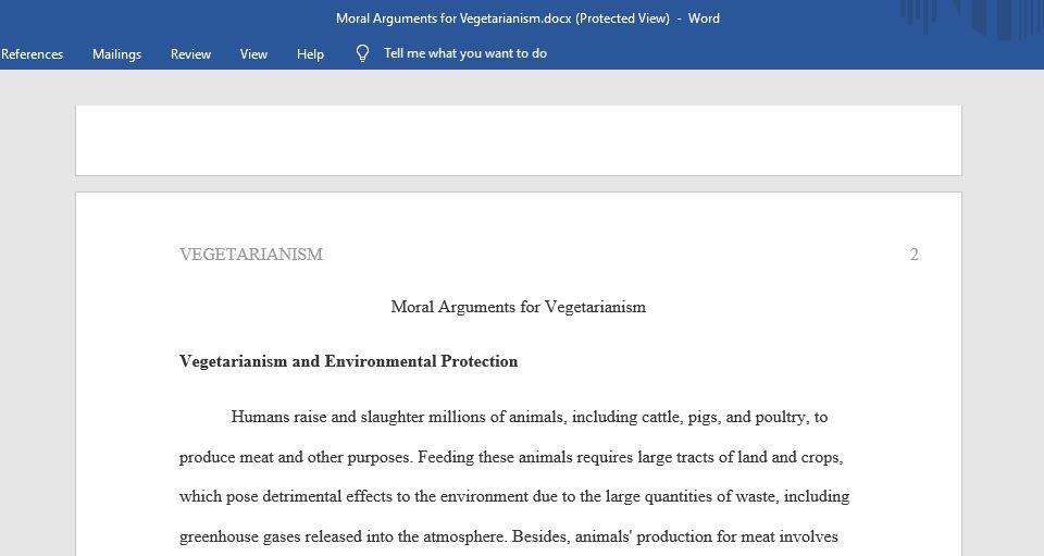 Moral Arguments for Vegetarianism