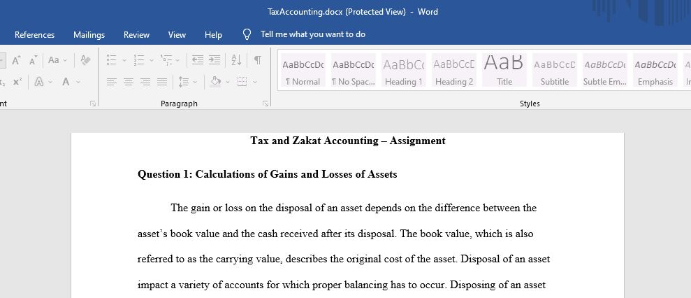 Explain how Gains and losses on disposal of assets are calculated and give numerical examples for taxable gains and non-taxable gains.