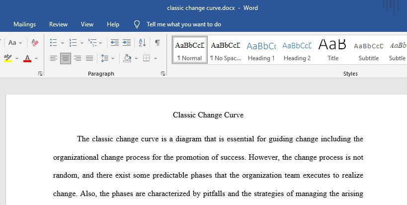 """Briefly summarize the """"classic change curve."""""""