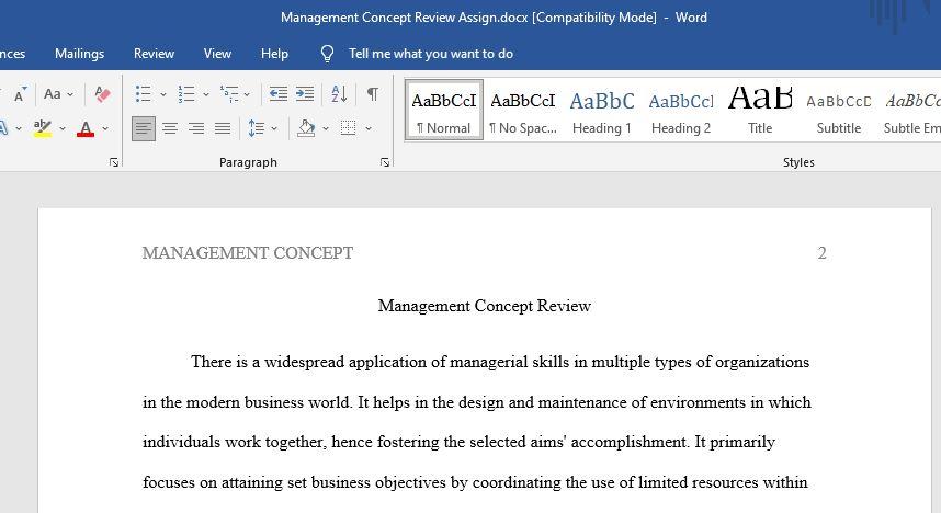 Management Concept Review