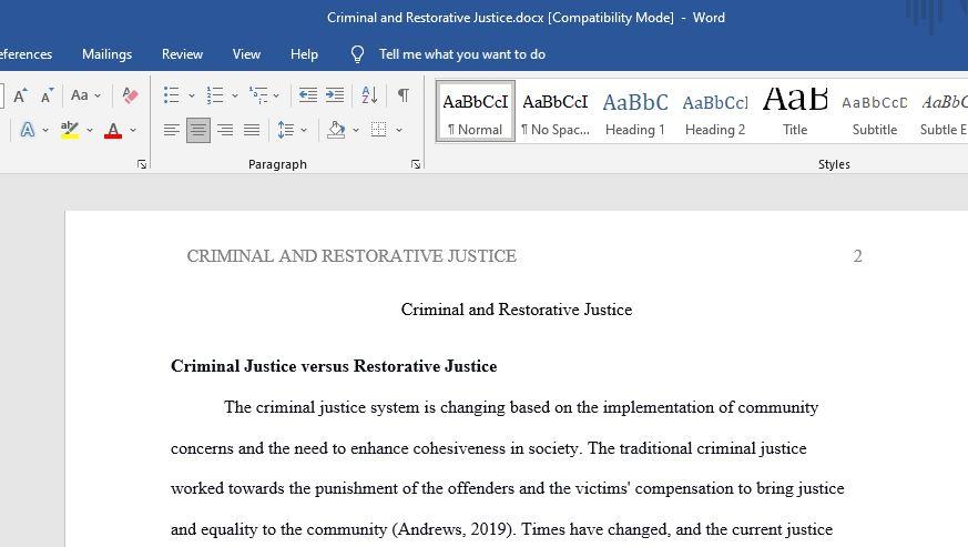 Criminal and Restorative Justice